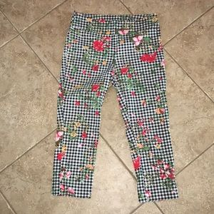 Jules & Leopold cropped floral and gingham legging